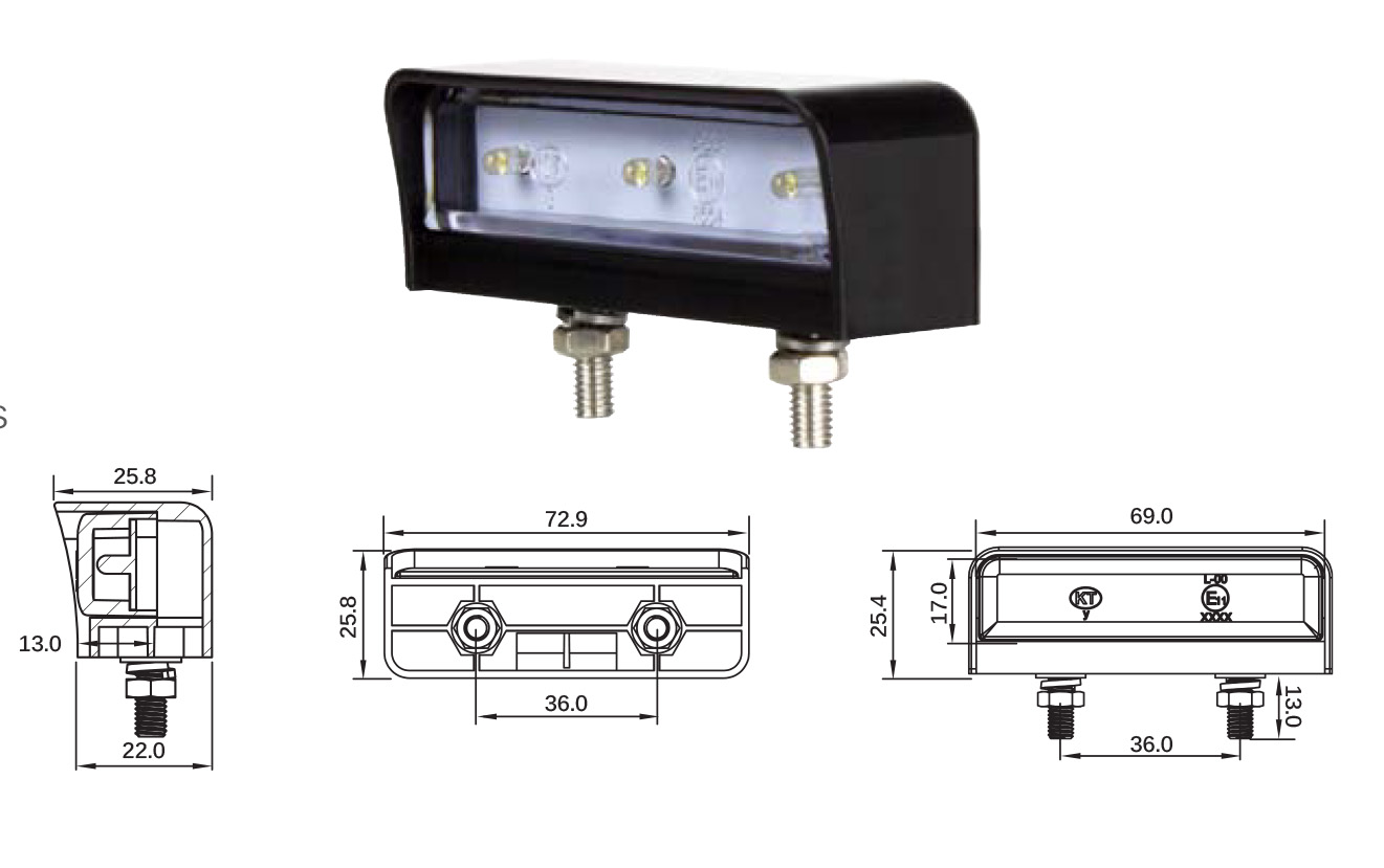 Kt Superior Led Licence Plate Lamp