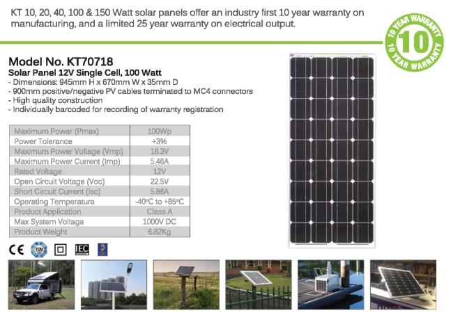 solar panel 100 w specs